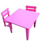 Conjunto Mesa Mesinha 4 Cadeiras Infantil Rosa Criança