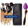 Set Maquillaje 15 Pinceles + Brocha Ovalada + Esponja Gota