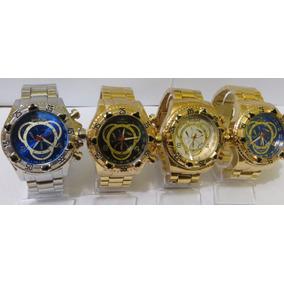 Kit 2 Relógios Masculinos Dourado Grande Barato Frete Gratis