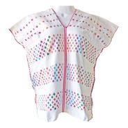 Blusa Telar Amuzgo · Blanco Formas Multicolor