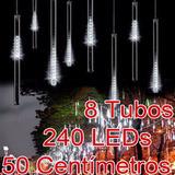 8 Kits De Chuva Meteoro Pisca 8 Tubos E 240 Led Cascata