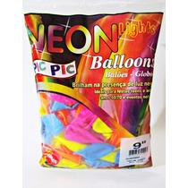 Balão,bexiga,neon Colorido Sortidos 9 Polegada,4pacotes 50un