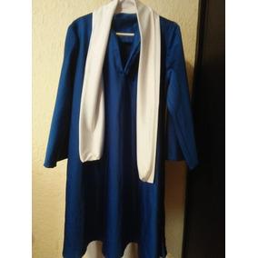 Toga Seminueva Color Azul Rey Con Estola Blanca