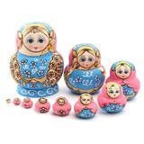 10 Muñecas Rusas De Anidación O Apilamiento De Madera