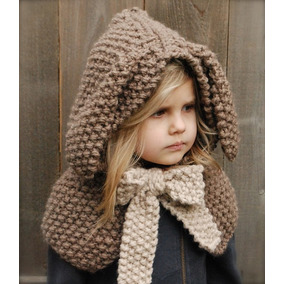 Gorro Tejido Crochet Con Orejas De Conejo Bebe Niño Adulto