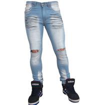 Jean Chupin Roturas Hombre Elastizado Pantalon