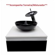 Kit Gabinete Banheiro + Cuba De Vidro + Misturador + Valvula