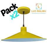 Pack X 2 Lampara De Techo Colgante Chapa Cocina Living Color