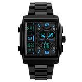 Mens Digital Analog Sport Wristwatch Abs Case Triple Time