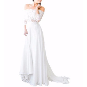 Vestido De Noiva Lindo Estilo Boho Chic Ombro A Ombro