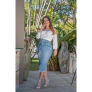 Saia Sol Jeans Midi Hot Pants Irregular Com Lycra Azul