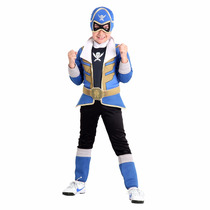 Fantasia Power Ranger Super Megaforce Premium Azul Longo