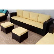 Sofa De 4 Lugares + 2 Puffs Em Fibra Sintética E Aluminio