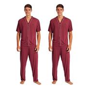Kit 2 Pijamas Adulto Masculino Pus Size Aberto Com Botões