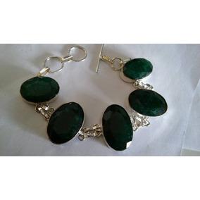 Pulseira De Prata 925 Enormes Pedras Naturais Esmeraldas