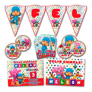 Kit Pocoyo Impreso Invitaciones Banderin Tarjetitas Stickers