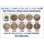 Moedas De 2.000 Réis 3º Padrão Monetário Série Completa