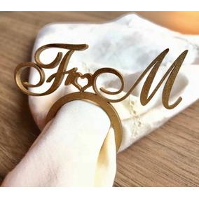 150 Anel Porta Guardanapo Dourado Em Mdf Casamento