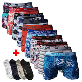 Kit 10 Cuecas Box Boxer Estampadas + 12 Pares De Meias