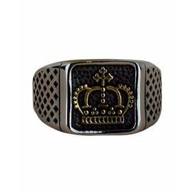 Anel Masculino Em Aço Coroa Quadrado (gold)