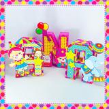 Letras 3d Circo Rosa - Decorativas Festa Infantil