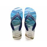 Chinelo Havaiana Surf Bege Palha / Marinho Original Novo