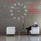 Relógio De Parede Adesivo Romanos Médio 60-90 Cm Prata