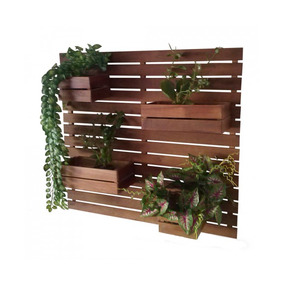 Floreira Jardim Vertical 100x80 Madeira Macica 4 Cachepôs