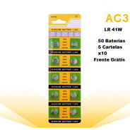 Kit 5 Cartelas Baterias Ag3 Lr41w Potência