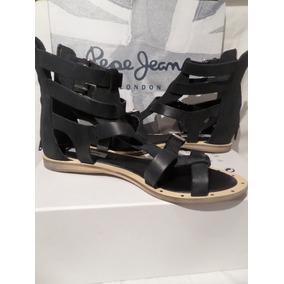 Sandalias Altas Pepe Jeans,mod Gayton Roma,cuero,talle38