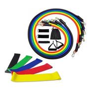 Kit Tubing Elástico 11 Itens + 5 Faixas Mini Band Treino Top