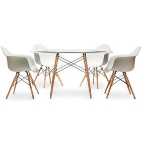 Kit Jogo Mesa Charles Eames Eiffel 90cm 4 Cadeiras C/ Braços