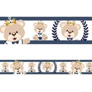 2 Faixas Borda Adesivo De Parede Urso Príncipe Ursinho Rei