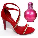 Sandália Di Cristalli Ruby Rouge Gratis Perfume Importado