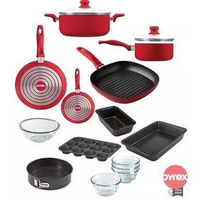 Bateria De Cocina Y Teflon Pyrex 12 Pz Sarten Olla Cacerola