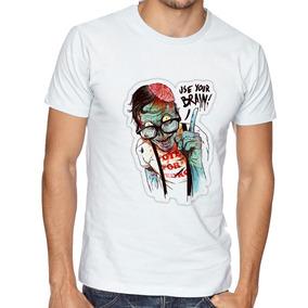 Camiseta Zombie Use Your Brain Blusas Manga Curta Tamanho