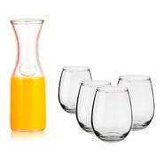 Combo Botella Jarra De Vidrio + 6 Vasos Copón Gourmet Cuotas