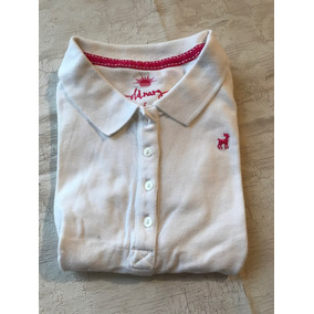 Old Navy Playera Tipo Polo Blanca Fashion Ribete Rosa