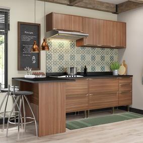 Cozinha Compacta Calábria Com Aéreos, Bancada E 2 Balcões -