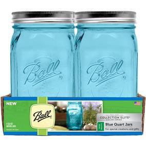 20 Frascos Ball Mason Jar Color Azul 32oz Boca Ancha