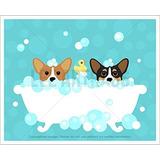 118d - Dos Perros Corgi En Baño De Espuma Bañera Sin Enmarc