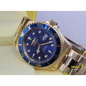 82d32080fff Invicta 6399 Folheado Em Ouro 18k 44mm Grande Azul Dourado - Joias e ...
