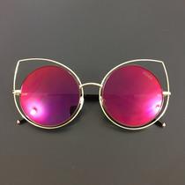 Óculos De Sol Feminino Espelhado Gato Gatinho Redondo