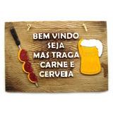 Kit 3 Placas Churrasco Cerveja Decoracao Biritas Em Resina