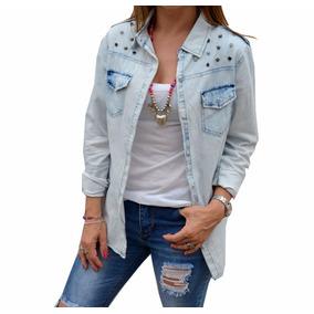 Camisa De Jean Tachas Strass Mujer The Big Shop