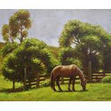 Quadro Arte Pintura Óleo/ Eucatex Paisagem Cavalo 23x27cm