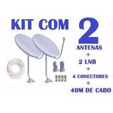 Antena Ku 60cm+ Lnbf Universal +40mts Cabo + Conectores Sky