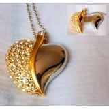 Dije Collar + Usb 8 Y 16gb - Diseño De Corazón Con Piedras!