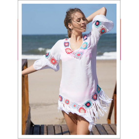 4dd9fdf5e Vestido Playero Mangas Oxford Detalle Crochet Sunsea Art 621