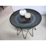 Mesa De Arrimo Vintage Base Bronce Con Tope Ceramica 51 X 42
